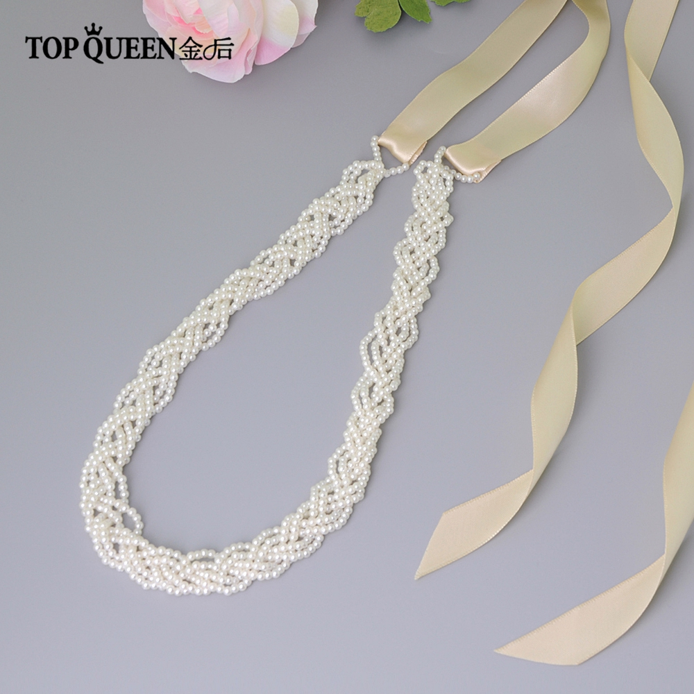 TOPQUEEN  Luxury Pearls Wedding Belt  Simple Bridal Belt Sash For Wedding DressesWhite Ribbon Sash  Long Pearl Bride Belt S262