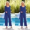 Verão Mãe da Noiva Pant Ternos Manga Comprida com jaqueta de Chiffon Azul 3 Peça Evening Vestidos Mãe Do Noivo para casamento