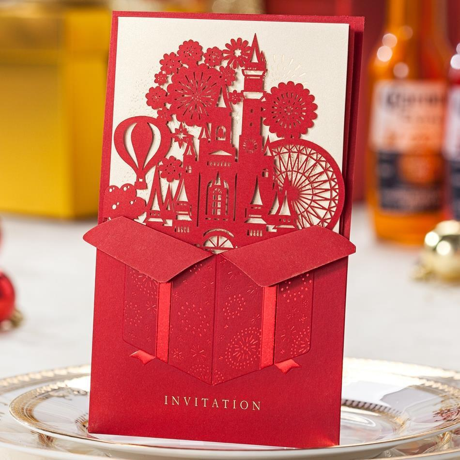 1 PCS Sample Red Wedding Cutting Castle Style Laser Wedding ...