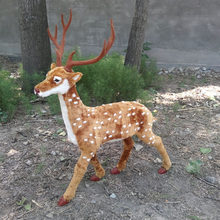 simulation deer model plastic&fur sika deer large 85x100cm handicraft toy ,home decoration,Xmas gift w5881(China)