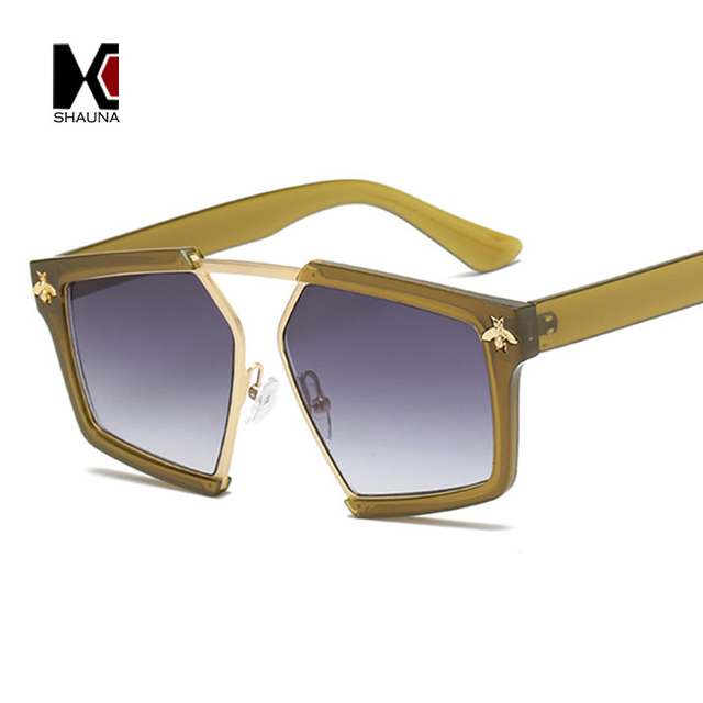 a8d4a63434 SHAUNA Oversize Women Half Frame Sunglasses Fashion Men Honey Bee Sun  Glasses UV400