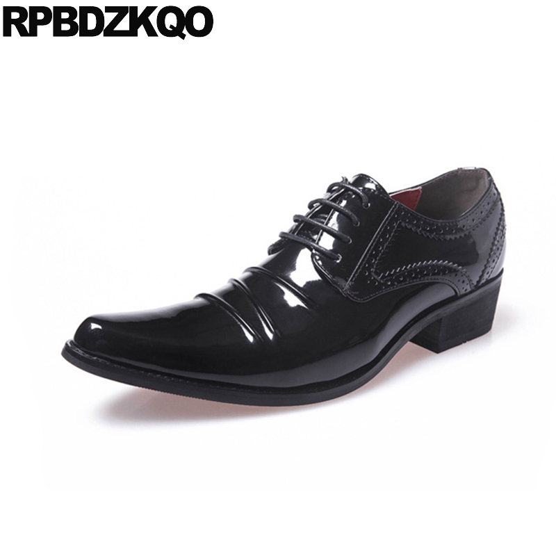 Italy Black Pointed Toe Oxfords Casual European 2017 Derby Men Patent Leather Dress Shoes Formal British Style Hot Sale Stylish