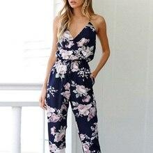 Women Feminino Sleeveless Floral Jumpsuits Clubwear Summer Playsuit Bodycon Part