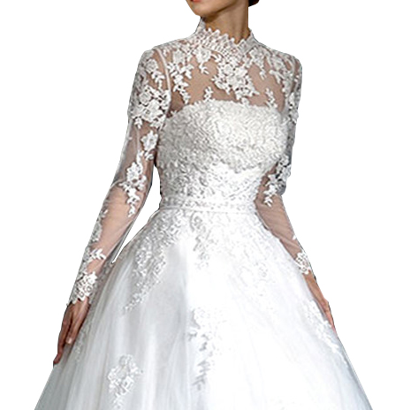 Lace Wedding Wraps Long Sleeves Ivory Bridal Bolero Women With Applique Lace High Neck Jacket Shrug Accessories for Bride 2018