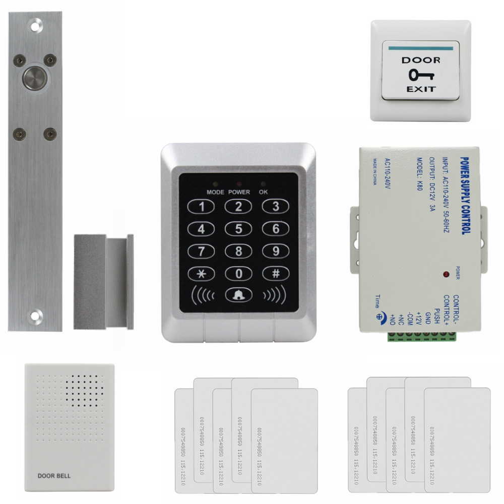 DIYSECUR 125KHz RFID Password Keypad Access Control System Security Kit + Electric Bolt Lock + Door Bell KS157 diysecur electric bolt lock 125khz rfid password keypad access control system security kit door lock remote control ks158