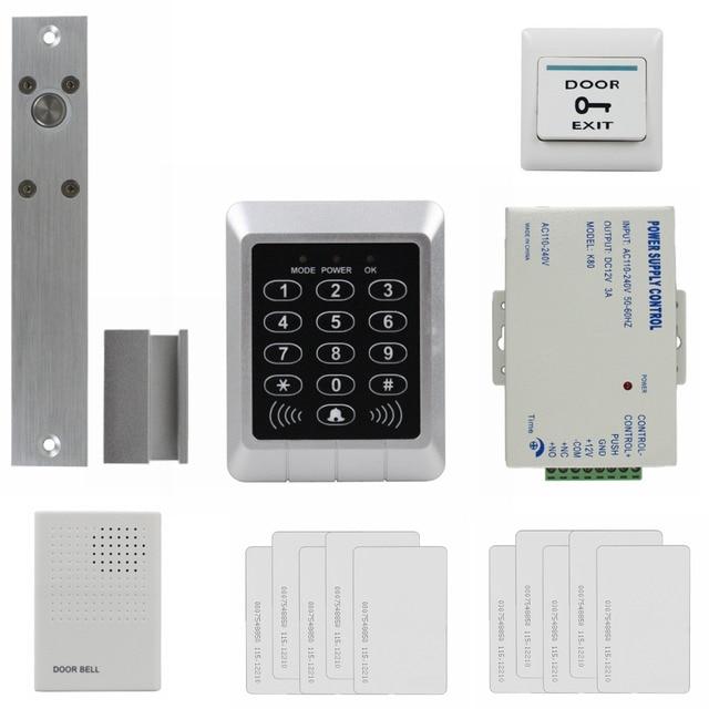DIYSECUR 125KHz RFID Password Keypad Access Control System Security Kit + Electric Bolt Lock + Door Bell KS157