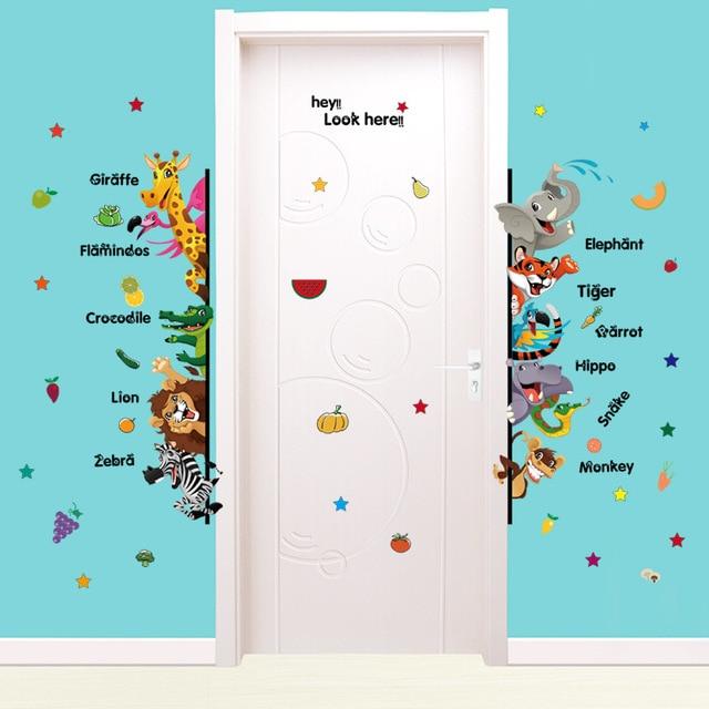 Nice Cartoon Animal English Checklist Wall Sticker Decal For Living Room  Schoolroom Childrenu0027s Room Kindergarten Decor Sticker Mural