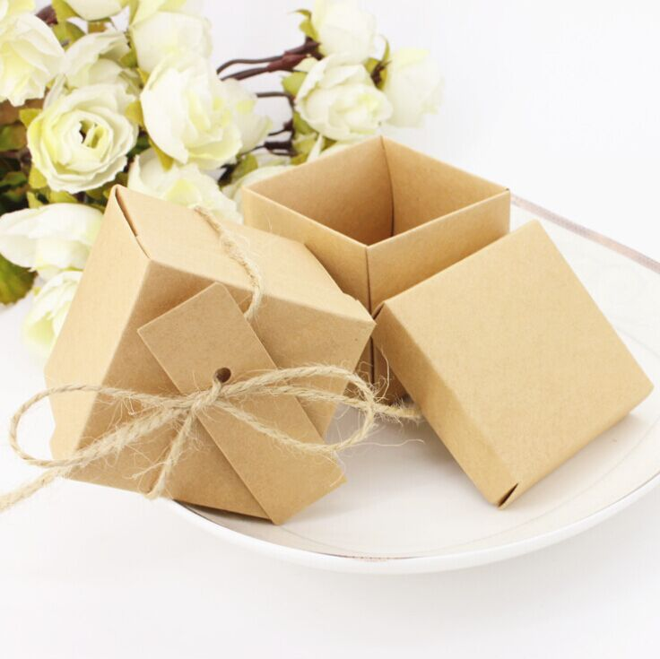 Free Shipping 50pcs Kraft Paper Square Chocolate Bo Favor Wedding Candy Box Gift With Cards Hemp Rope Supplies In Bags Wring
