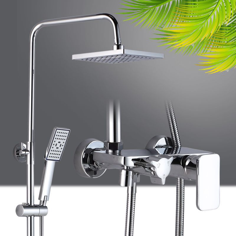 Rain Bathroom Shower Nozzle Copper Plating Flat-Panel Faucet Set