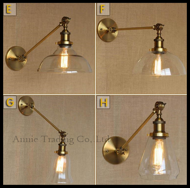 ФОТО Industrial Wall Lamps Vintage Bedside Wall Light Clear Glass Lampshade E27 Edison Bulbs 110V/220V  Bedside Restaurant Fixtures