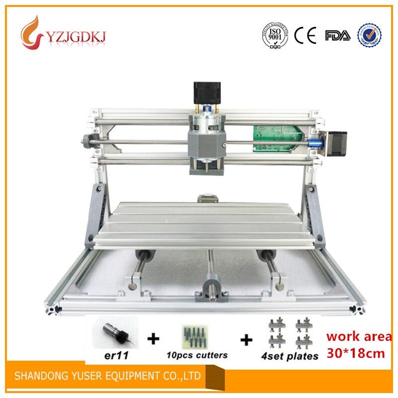 CNC 3018 zone de travail 2500 mw laser GRBL contrôle bricolage laser gravure ER11 CNC machine, 3 axes pcb fraiseuse, bois routeur 30x18