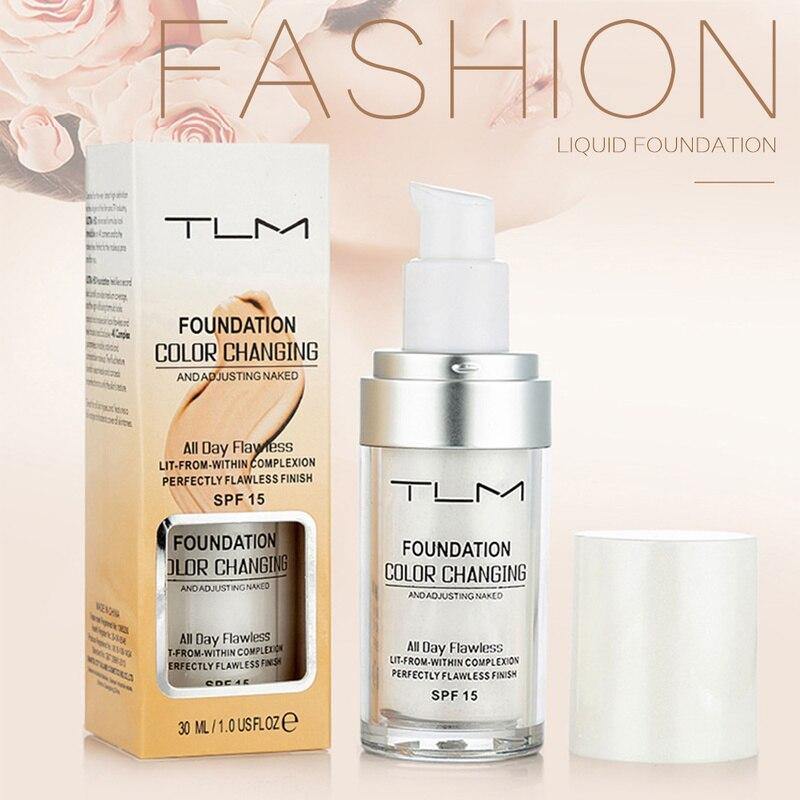 Жидкая основа для макияжа TLM, меняющая цвет, меняющая тон кожи, просто растушевывая профессиональный макияж TSLM1