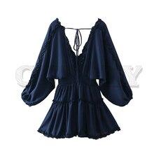 CUERLY women stylish deep V neck chiffon mini dress back bow tie backless elastic waist female sexy party mini dresses цена