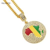 MCSAYS מפת דגל אפריקאית גביש מלא עגול תכשיטי היפ הופ תליון אביזרי אופנה שרשרת Mens שרשרת זהב מגניב Cubin 3XH