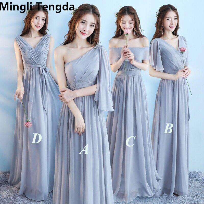 Mingli Tengda Chiffon   Bridesmaid     Dress   Wedding Party   Dress   Elegant Women   Dress   6 Styles Long   Bridesmaid     Dresses   Silver Gray New