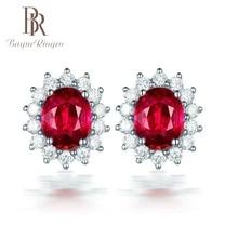 Begua Ringen Zircon Red Stone Stud Earrings For Women Girls Silver Color Female Small Earring Fashion Wedding Party Ear Jewelry