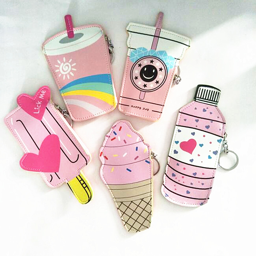 M248 Animated Coin Purses Handbags Women Cute Ice Cream A Bottle Of A Leather Bag Kawaii Kids Wallet A Small Bag For The Keys