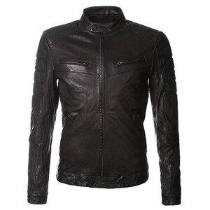 Image 2 - Chaqueta corta estrecha de cuero auténtico para hombre, chaqueta de motociclista Vintage de piel de oveja lavada para motocicleta italiana