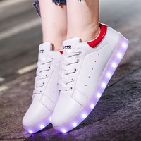 Classic Style USB Rechargeable LED Children Shoes Girls And Boys White Flash Fluorescent Lovers Shoes Woman