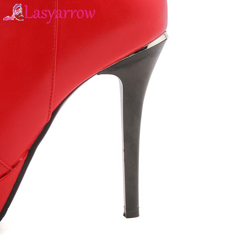 Hiver Lasyarrow Mariage Mode Bottes Femme Noir Zip Plate Chaussures Parti Boucle De Automne Haute forme Solide Femmes Talons rouge Cheville QWrBodCxeE