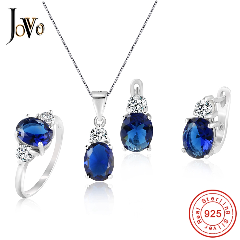 JOVO 925 Sterling Silver Necklace and Stud Earrings rings Jewelry Sets for Women AAA Zircon Fashion party gift Gemstone Necklace a suit of fashionable zircon inlaid hollow out necklace and earrings for women