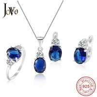 JOVO 925 Sterling Silver Necklace and Stud Earrings rings Jewelry Sets for Women AAA Zircon Fashion party gift Gemstone Necklace