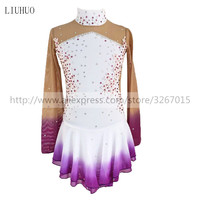 Figure Skating Dress Child Women's Girls' Ice Skating Dress Kids Competition Standing collar Long sleeve White and purple