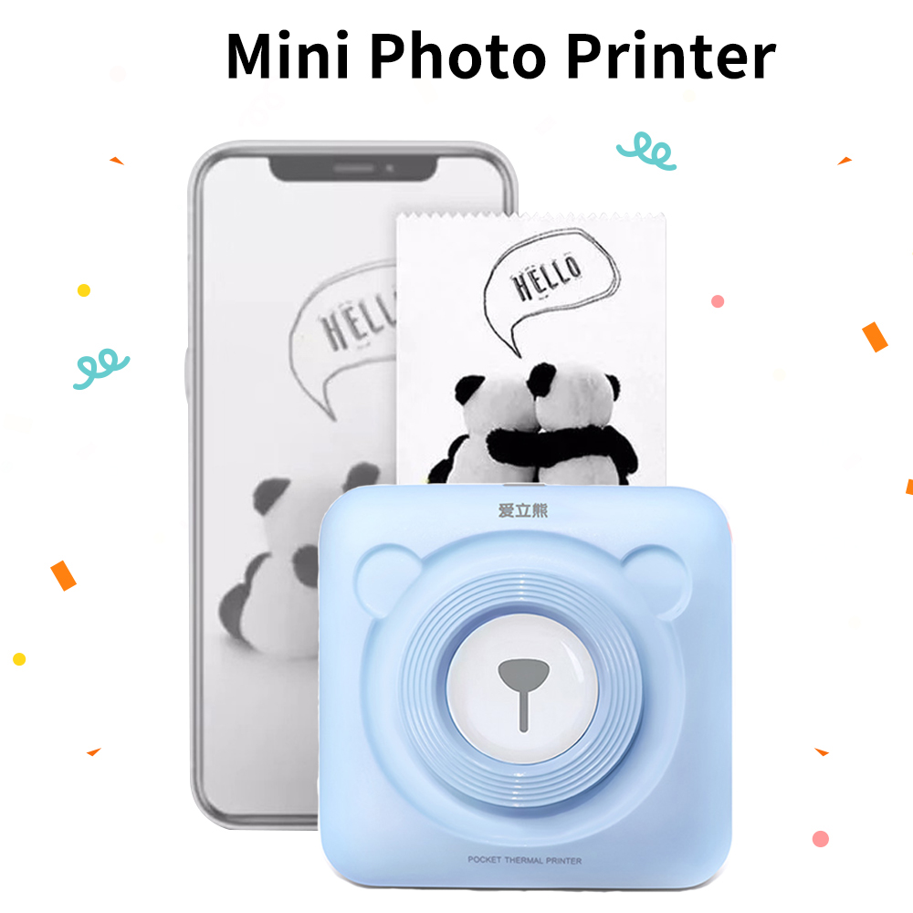 PeriPage Mini Portable Photo Printer 58mm Bluetooth Pictures Printer Sticker Receipt Printer 6 Rolls Label Thermal Paper