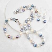 ASHIQI Natural Freshwater Pearl Jewelry Sets for Women 9-10mm Baroque Pearl NE+BR+EA ashiqi natural freshwater baroque pearl layered necklace women 4 8mm 5 rows bohemia handmade jewelry fashion
