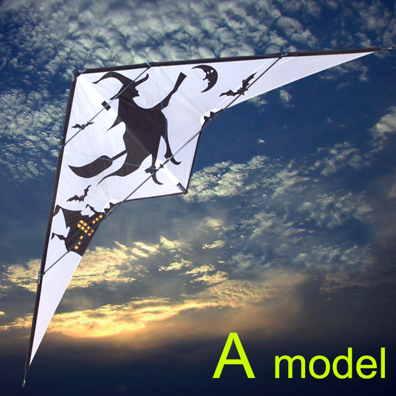free shipping high quality 2.7m witch dual line stunt kite surf outdoor fun sports parafoil kiteboard bar kite led falcon kite 2 5m huge dual line control soft frameless stunt parafoil flying kite plaid cloth made with 2 line board and 2 x 40m line