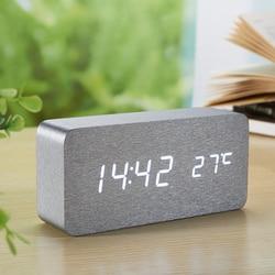 New Digital Alarm Clock wooden Silver Skin clock Sound Control Led Desktop Table Bedside reloj despertador electronic watch