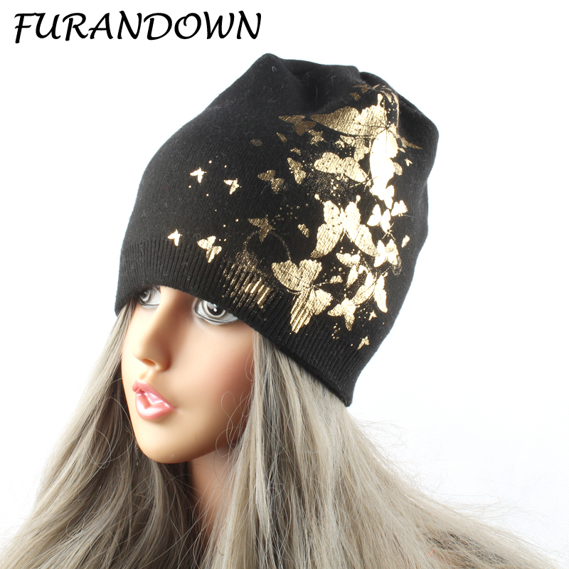 FURANDOWN Butterfly Print Beanies For Ladies Women's Winter Knitted - Apparel Accessories - Photo 1