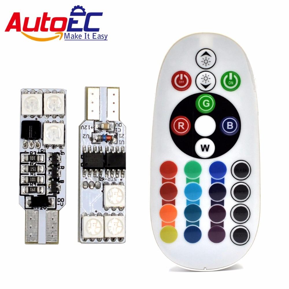 AutoEC 1 комплект T10 194 w5w RGB 5050 6 SMD - Автомобилни светлини - Снимка 1