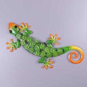 Image 2 - Décoration murale en métal Gecko pour Statues danimaux en plein air de jardin ou Sculptures décoratives de mur à la maison