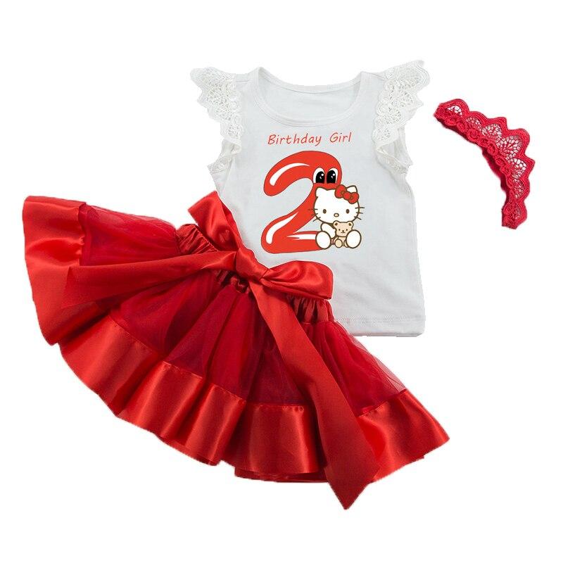 New Fashion Newborn Baby Girl Infant Clothing 3pcs/Sets Tutu Skirts+Jumpsuit+Headband Bebes Infantil Birthday Party Clothes Set