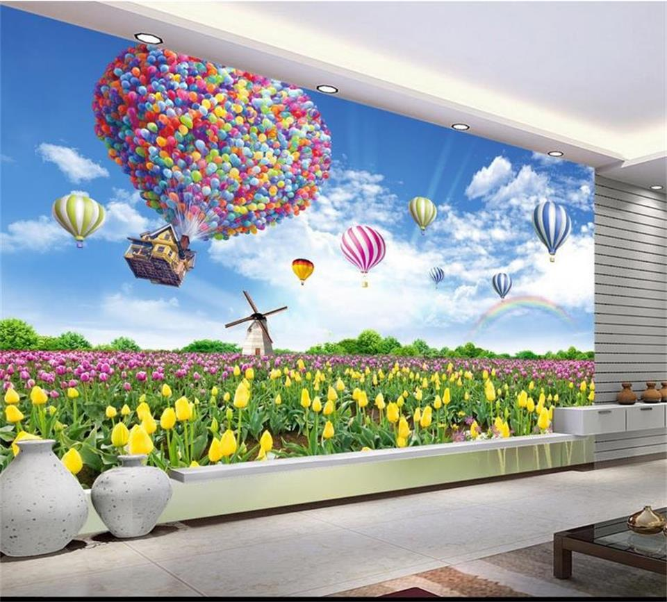 3d room wallpaper custom murals non-woven wall paper sticker Hot air balloon tulips painting 3d wall photo wallpaper for wall 3d free shipping borges suspended large scale non woven paper art wallpaper murals custom size