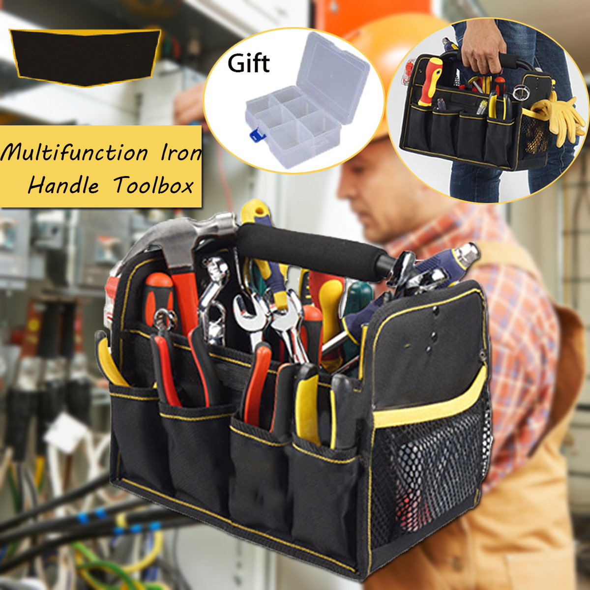 27 Bags Large Capacity Electrician Tools Bag Oxford Cloth Waterproof Single Shoulder Multifunction Repair Tool Organizers 27 bags large capacity electrician oxford tools bag waterproof single shoulder multifunction repair thicken instrument case