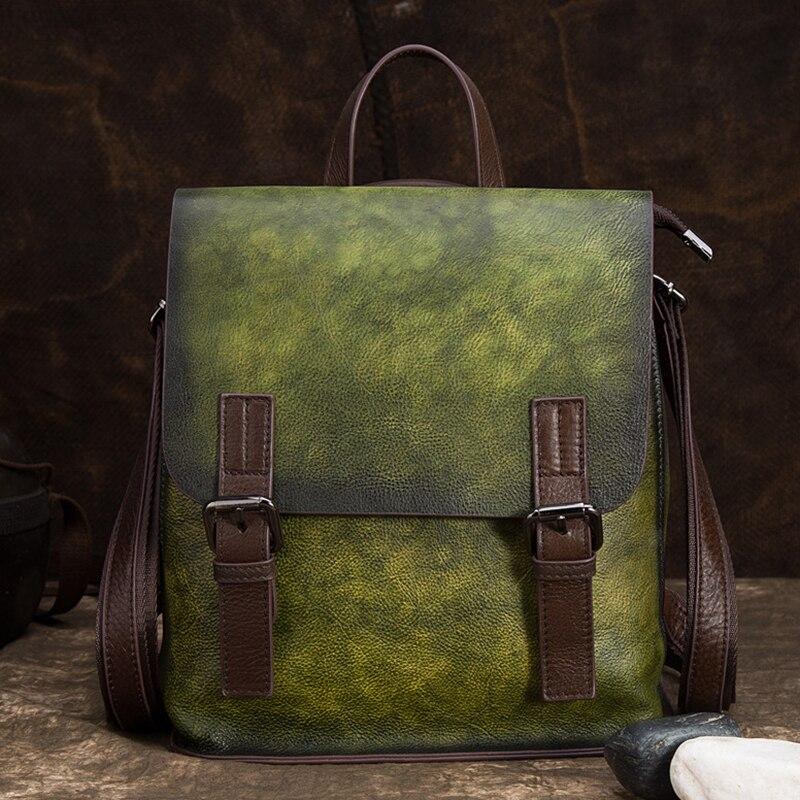 Haute qualité peau naturelle sac à dos sac de voyage Vintage brosse couleur en cuir véritable femmes sac à dos filles école sac à dos