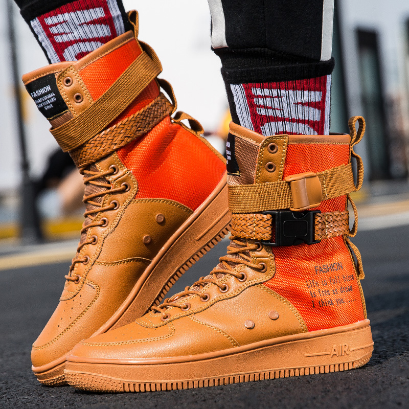 2019 Plus Size 36-46 Cool Lovers Men High Top Fashion Sneakers Platform Flats Boots Shoes Man Orange krasovki Vulcanized Shoes