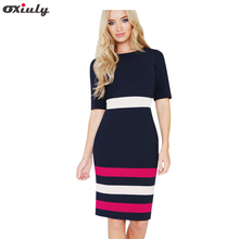 Oxiuly Summer Office Lady Color Contrast Patchwork Fitted Dress Casual Short Sleeve Zip Back Dark Blue Chic Work Pencil Dress