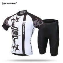 XINTOWN Summer Short Sleeve Cycling Jersey Set Comfortable MTB Bike Clothing for Men Sweat Pro Read Bicycle Jerseys 2 Styles
