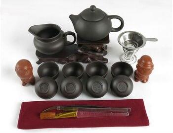 Total 17 pcs Kung Fu Tea Set 150ml Teapot + Filter + 8 Cups Genuine Ceramic Drinkware Yixing Tea Pot Purple Clay Dehua Teaset