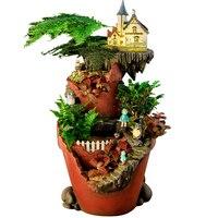 Luminous Flowerpot Resin Magic House Planter Pot Succulent Plant Pot Home Decor Tree House Solar Power Fairy Garden