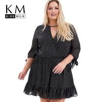 Kissmilk Plus Size Dot V Neck Pleated Mid Sleeve Women Mini Dress High Waist Bowknot Dress Large Size Casual Dress 3XL 7XL