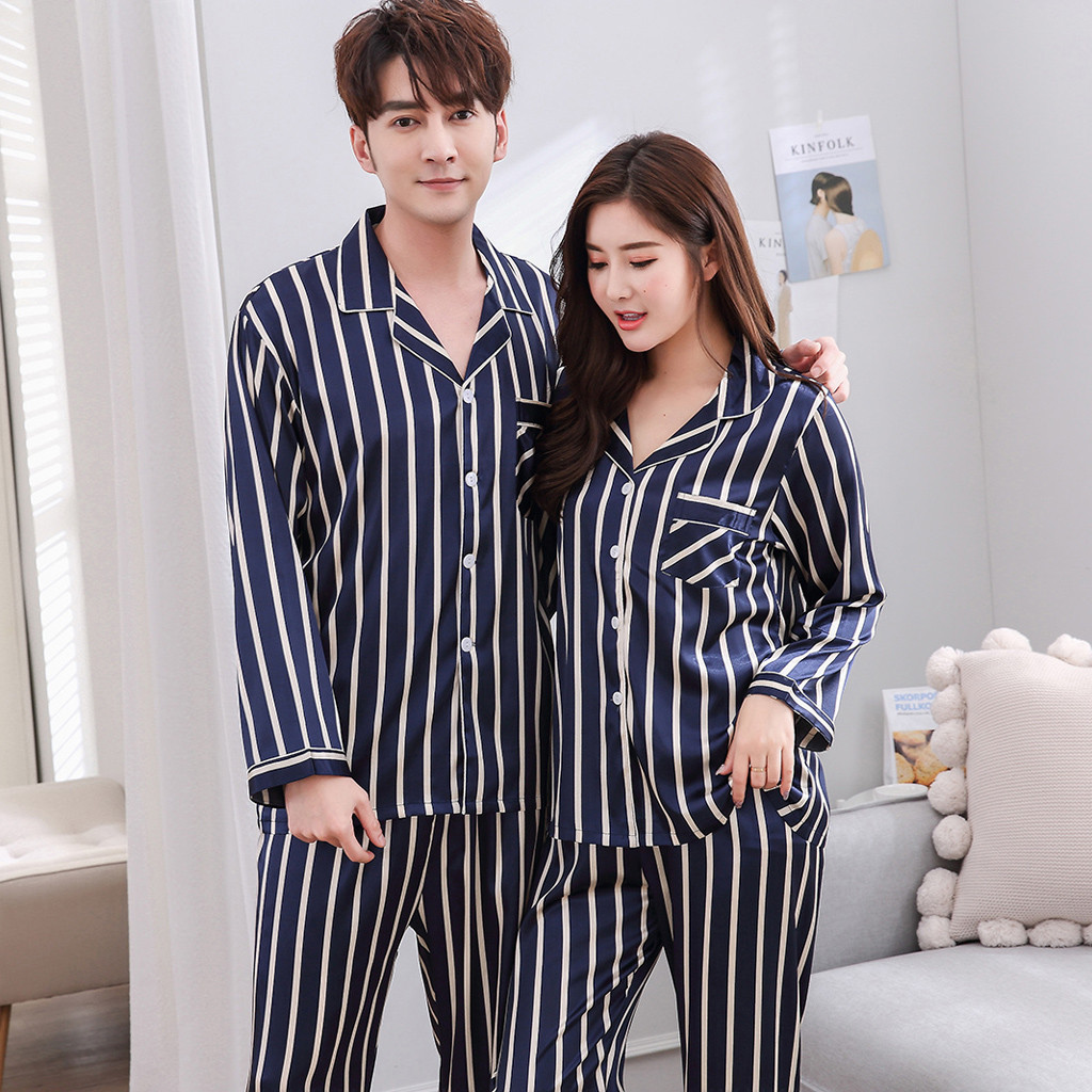 2020 New Drop Shipping Men's Casual Spring Stripe Printing Long-sleeved Comfortable Home Pyjamas Set Home Clothes Sleepwear