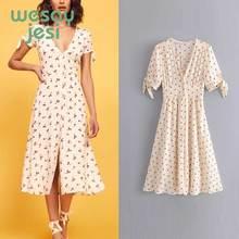 2019 new summer dress women vestidos print strawberry v-neck de fiesta party