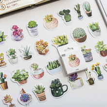50pcs/pack Cactus Stationery Plant Stickers Kawaii Diary Scrapbooking Sticker School Label Kids Escolar Supplies