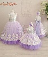 Leylak tül aç geri çiçek kız elbise ile beyaz dantel ve yay gümüş sequins çocuk tutu elbise bebek doğum günü parti balo elbise