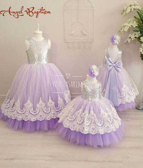 Lilac tulle open back flower girl dresses with white lace and bow silver sequins kid tutu dress baby birthday party prom gown