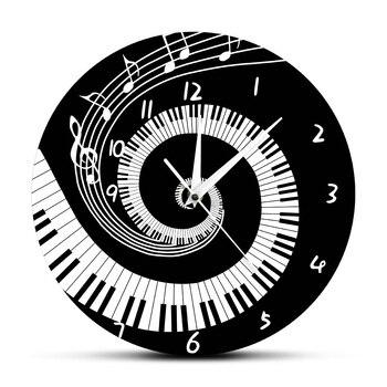 Elegantes teclas de Piano Blanco y Negro moderno reloj de pared notas de música onda redonda teclado de música Reloj de pared amante de la música pianista regalo
